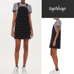 Topshop Spot Pinafore Corduroy Jumper Dress NWT 4